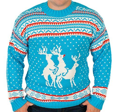 7cae6ed91d91 Men s Reindeer Threesome Sweater (ft. Rudolph) in Hot Blue By ...