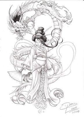 Dragon And Geisha Design Geisha Tattoo Design Japanese Dragon Tattoos Japanese Tattoo Art