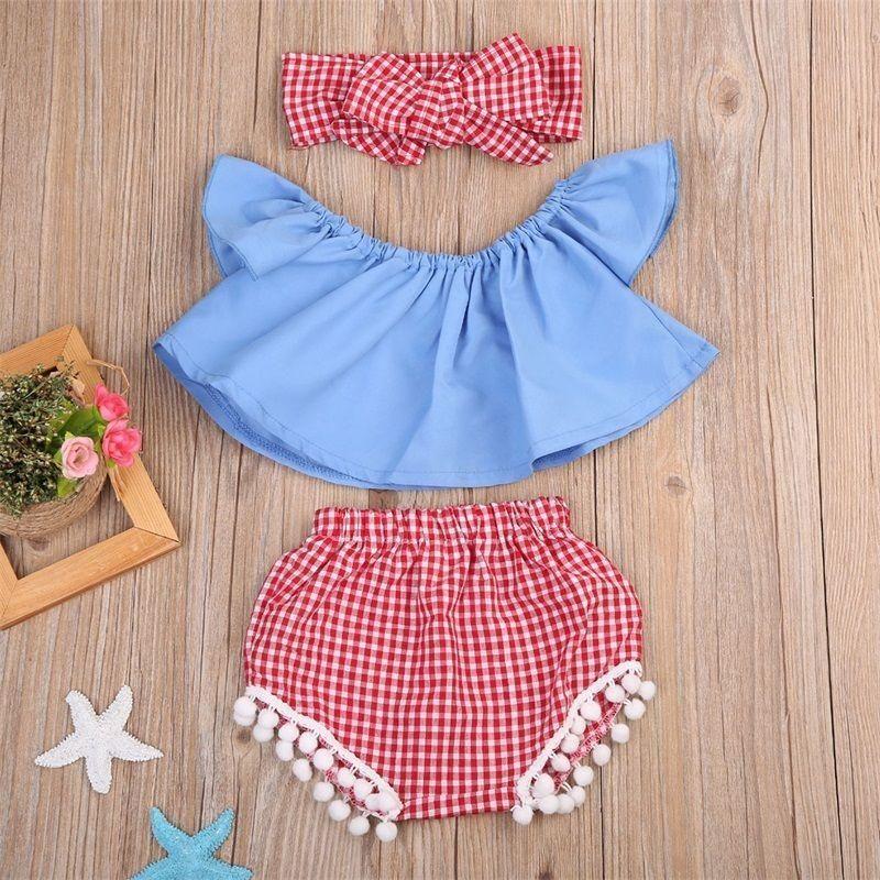 Newborn Kids Baby Girls Summer Bowknot Crop Tops Pants Shorts Outfit Set Clothes
