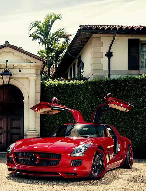 Handsome Red Mercedes SLS AMG   Check Out Those Cars Sports Cars Cars Vs  Lamborghini Sport Cars