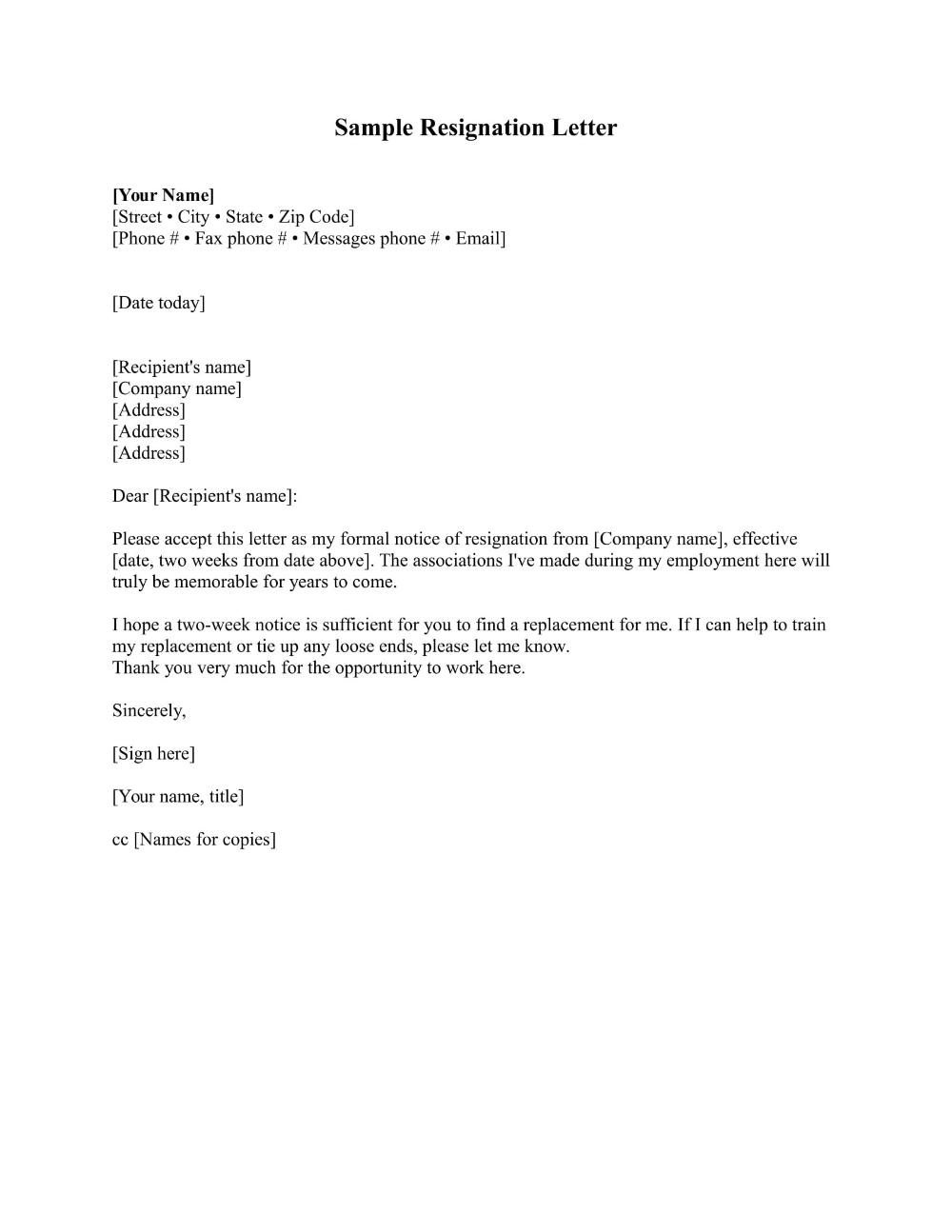 Standard Resignation Letter Examples Pdf Word Examples With Standard Resignation Letter Resignation Letter Sample Resignation Letter Resignation Letter Format