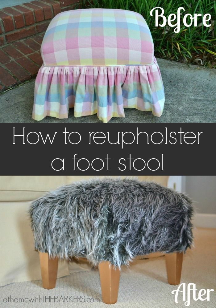How To Reupholster A Foot Stool Reupholster Footstool Redo Furniture