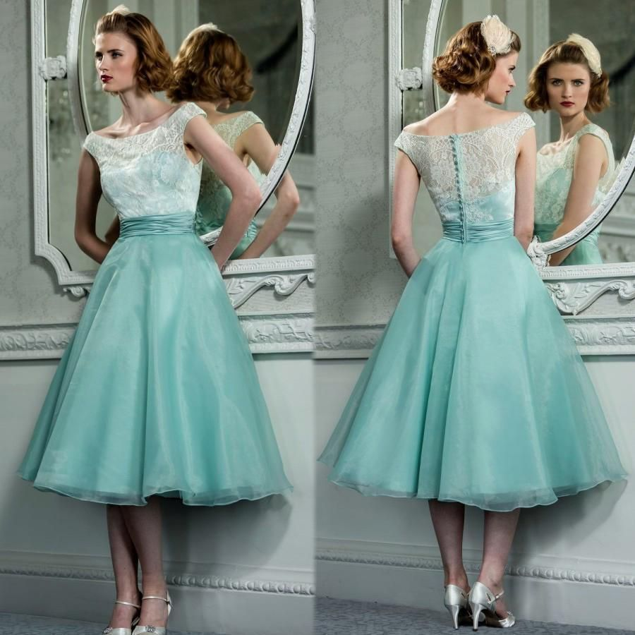 Vintage Sexy Formal Tea Length Lace Prom Cocktail Dresses Evening ...