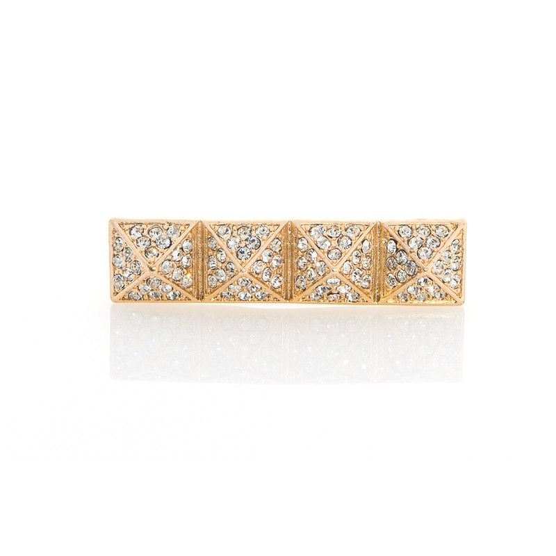 Gold pave pyramid two finger ring