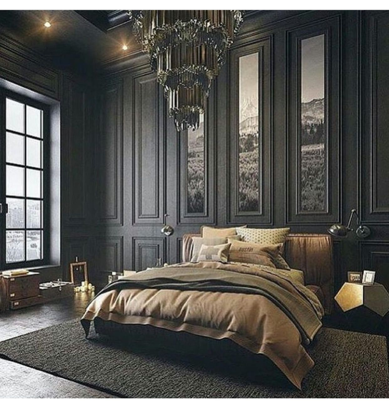 Modern Vintage Bedroom With High Ceilings, Chandelier, And