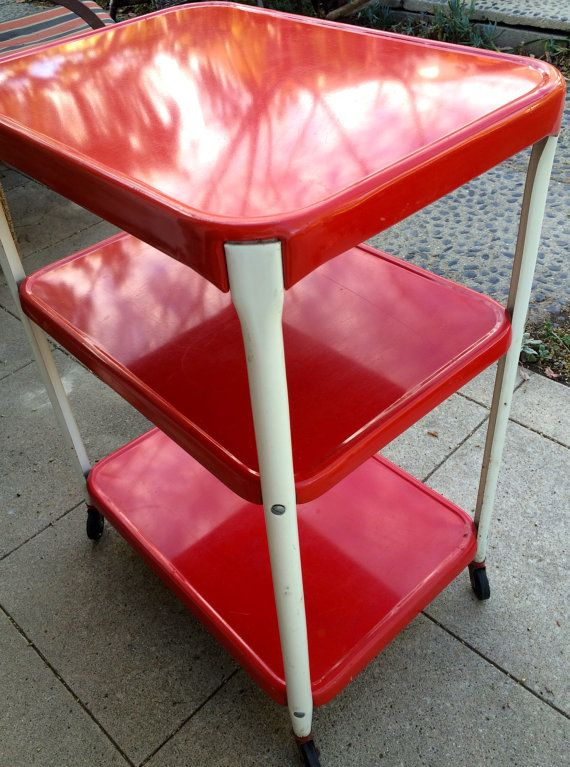 Vintage Rolling Bar Cart Utility Kitchen Wheeled Cabinet 1960s Red White Metal On Wheels Is In