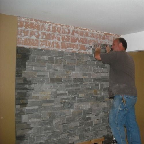 idea stone veneer over existing ugly brick on the fireplace - How To Stone Veneer Fireplace