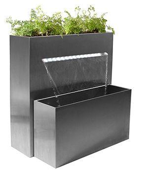Perfect Gro er rechteckiger Edelstahl Wasserfall und Pflanztrog mit LED Beleuchtung cm hoch