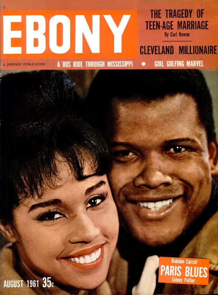 Ebony magazine, Aug. 1961 — Diahann Carroll & Sidney Poitier in Paris Blues