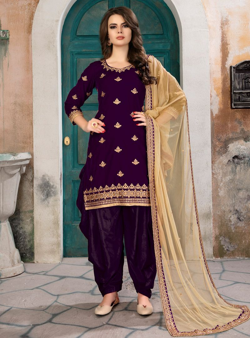 663ae87921 Buy Purple Velvet Punjabi Suit 133455 online at lowest price from vast  collection at m.indianclothstore.c.