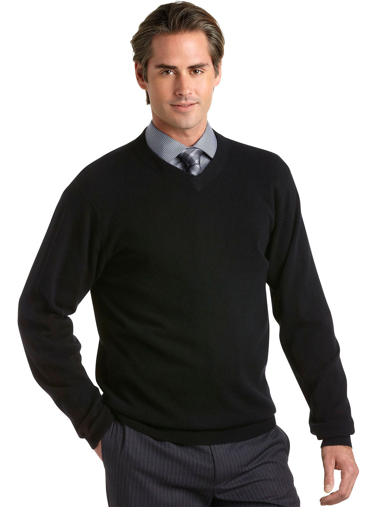 Sweaters & Vests - Pronto Uomo Forest Green Cashmere V-Neck ...