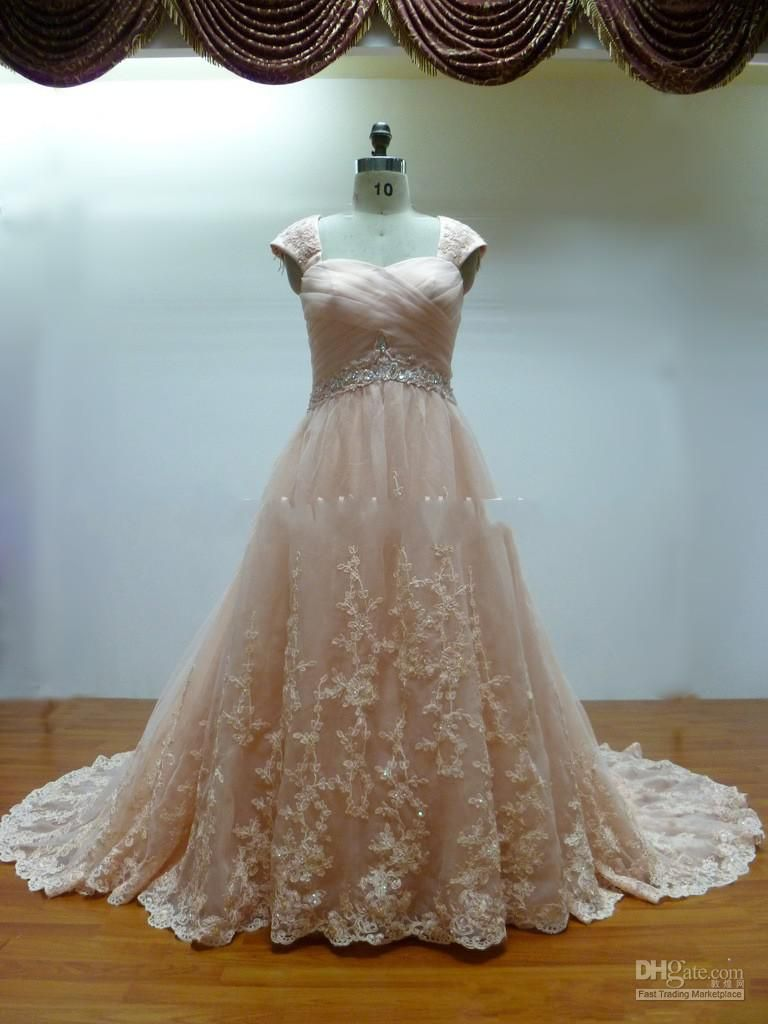 A-line Cap Sleeves Bridal Dress. This is SO CUTE. LOve!