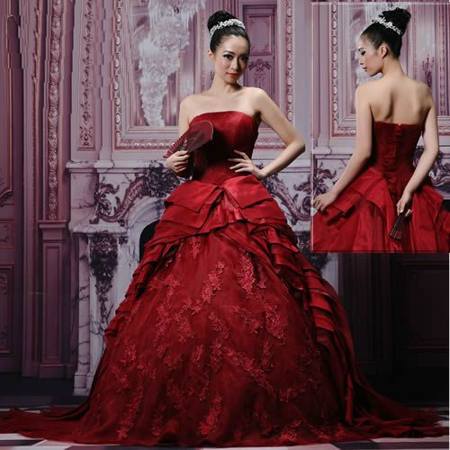 Designer Burgundy Formal Masquerade Ball Gown Dress Plus Size Petite ...