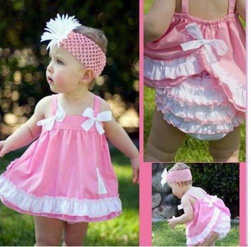 US Summer Toddler Baby Girl Clothes Tops Dress+Shorts Pants Outfits Headband Set