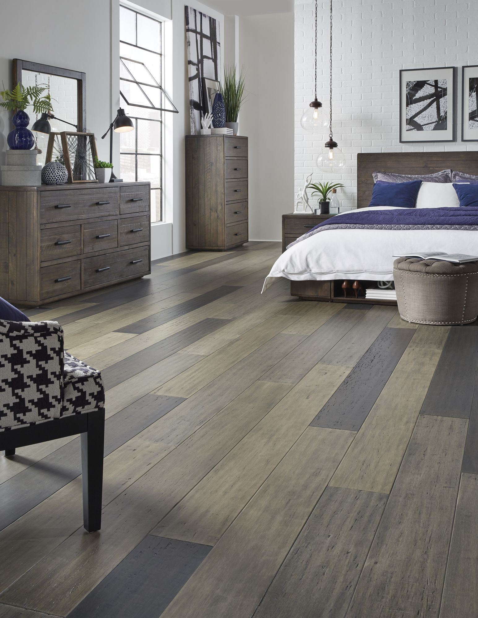 Stonehouse Manor Engineered Bamboo Offers Stylish Contrast And Rhyme Wide Width Planks In Tren Grey Vinyl Plank Flooring Modern Bedroom Asian Inspired Bedroom