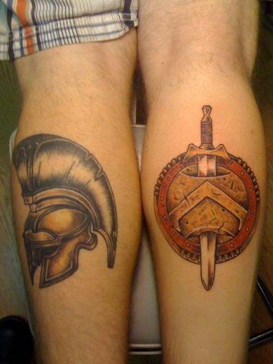 504bf93d0 25 Powerful Shield Tattoo Designs | tattoos | Shield tattoo, Spartan ...