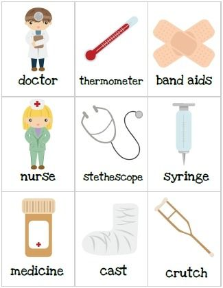 poster of medical things- May also be used to help a child with a dr appointment, or hospitalization.
