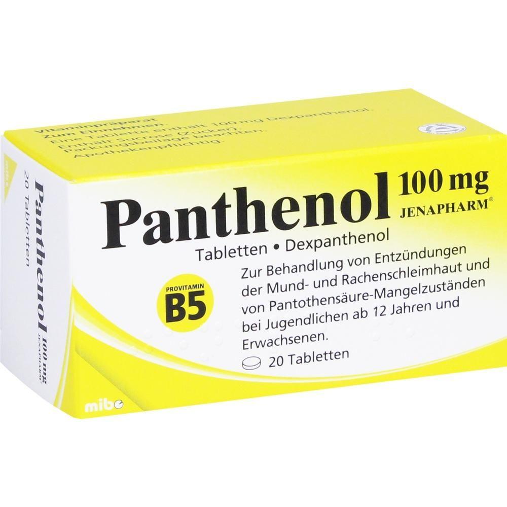 PANTHENOL 100 mg Jenapharm Tabletten:   Packungsinhalt: 20 St Tabletten PZN: 04020790 Hersteller: MIBE GmbH Arzneimittel Preis: 2,59 EUR…