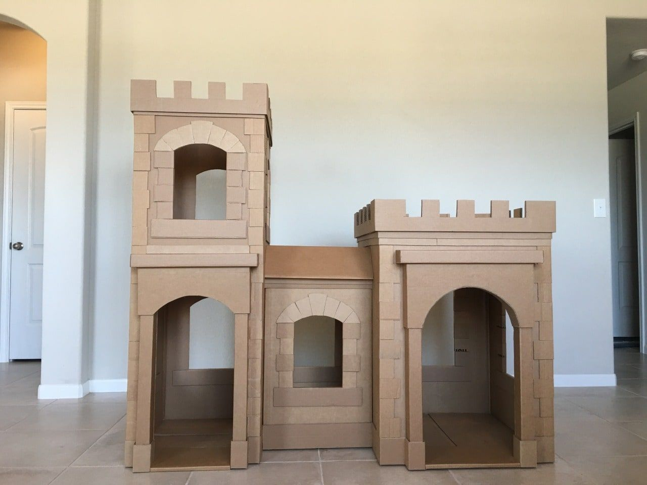 A Kid S Dream Cardboard Castle Made Out Of Boxes Brandon Tran Cardboard Castle Cardboard Houses For Kids Cardboard Box Castle