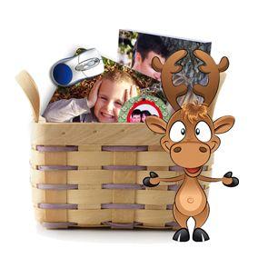 Cabaz Rena - No cabaz está incluído:  1 Passepartout 3D em acrílico;  1 Porta chaves redondo;  1 Tapete de rato