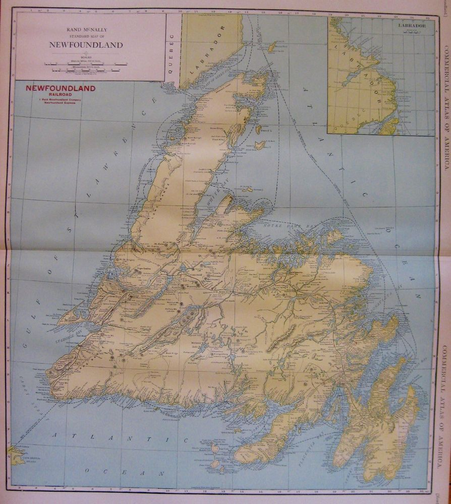 Canadian Map Territories%0A      Antique Newfoundland Canada Map Vintage Map of Newfoundland Railroads