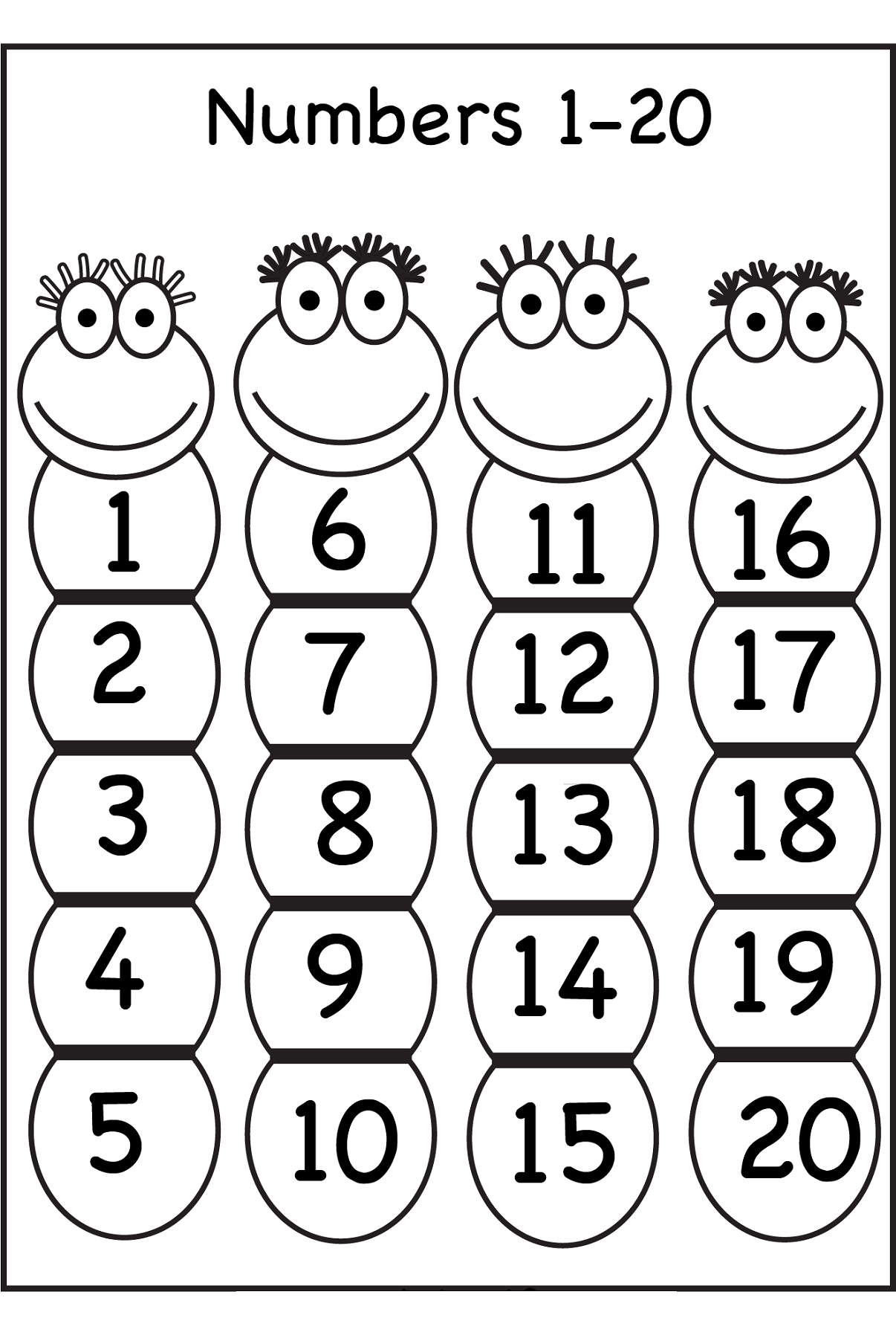 1-20 Number Chart For Preschool | Activity Shelter | Alphabet and ...