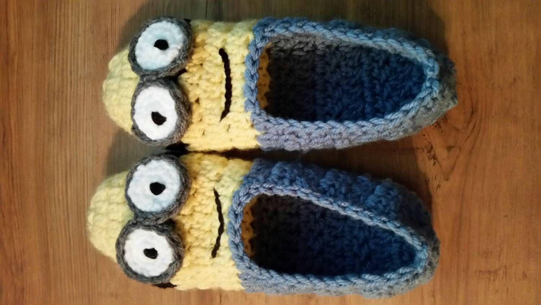 Minion inspired adult slippers, ballet slipper, crochet slipper by Motherlylove1981 on Etsy