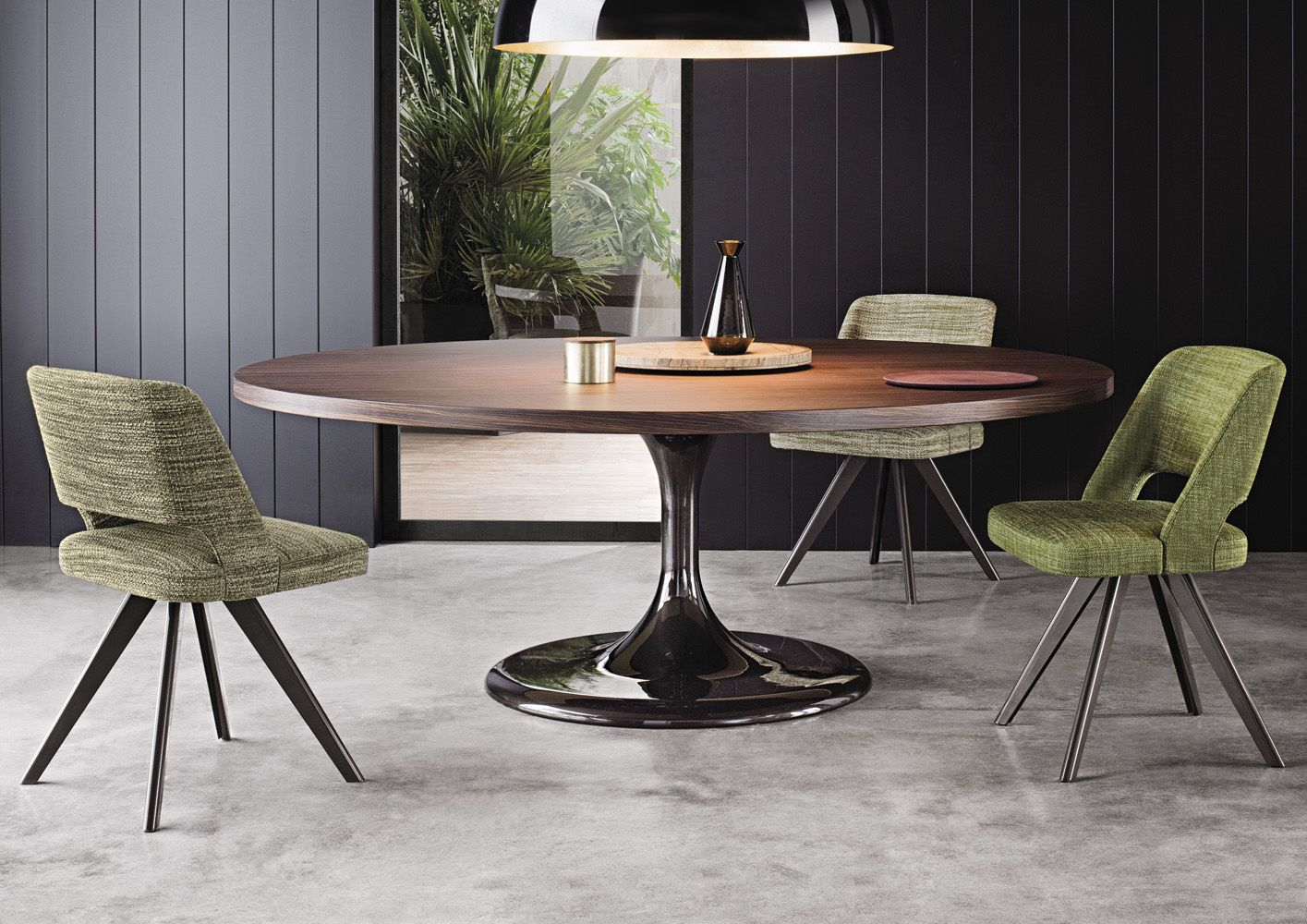 Home U0026 Apartment, Round Dining Table With Contemporary Furniture Decor Room  Design Plus Green Side Chair With Big Bowl Black Pendant And Floor Cement:  ...