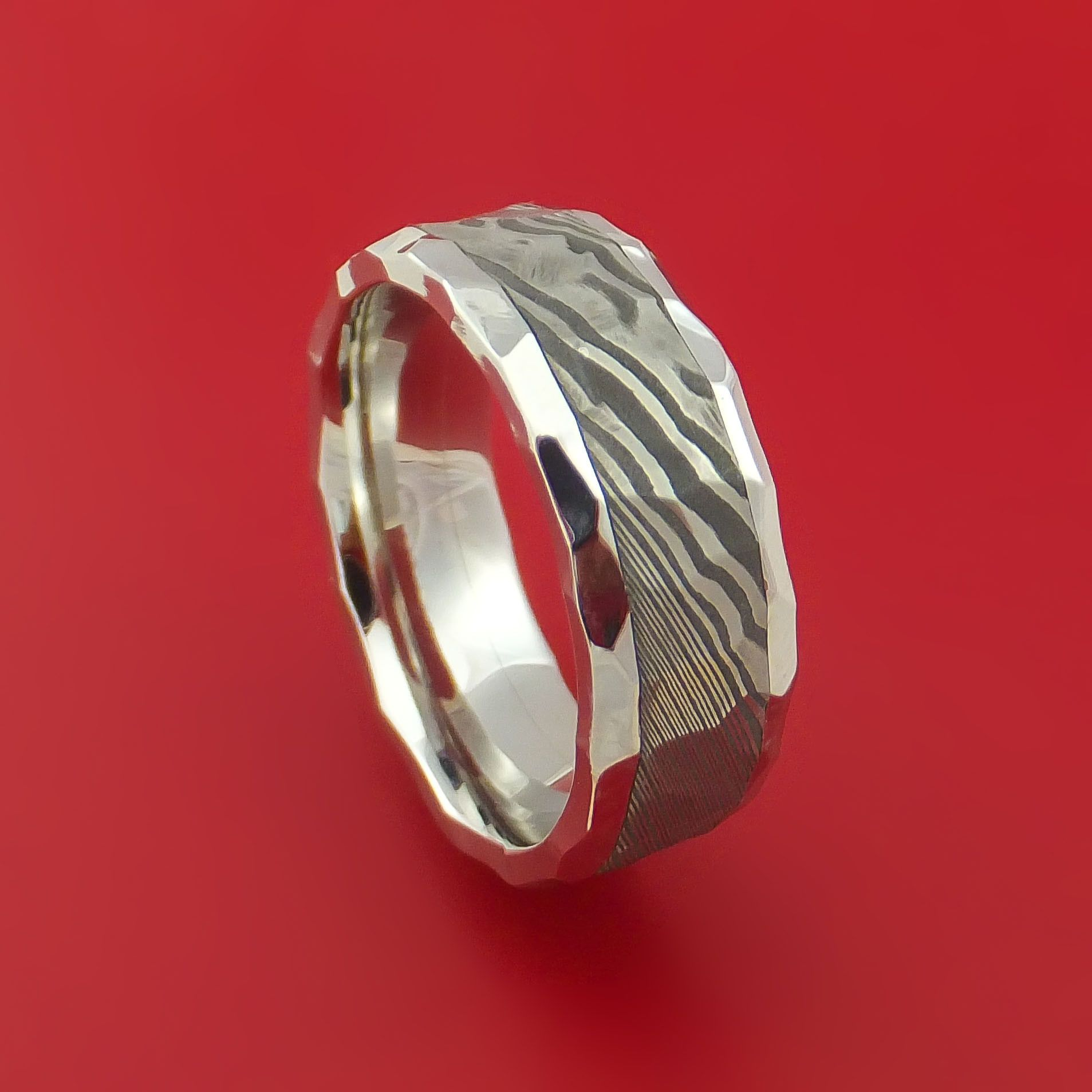 Hammered Cobalt Chrome Ring with Damascus Steel Inlay