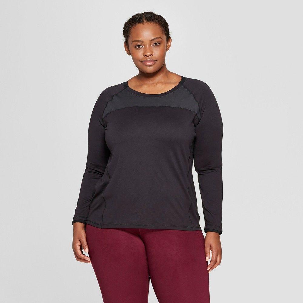 8e07a2c395a Women s Plus Size Long Sleeve Run T-Shirt - C9 Champion Black 4X ...