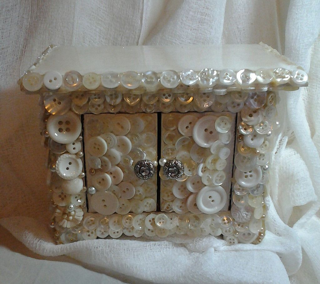 Button Covered Miniature Dresser/Trinket Box with Pearls and Rhinestones  25.00
