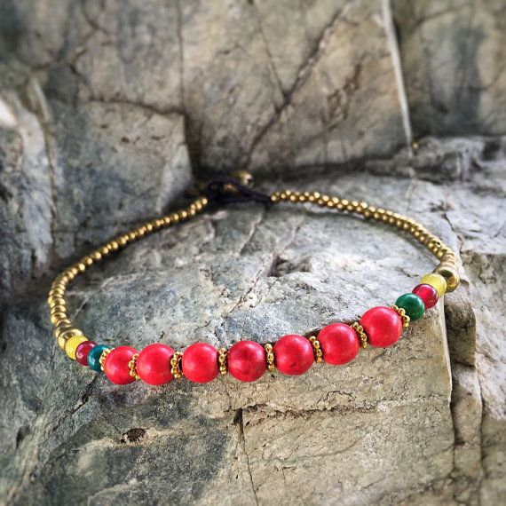 Coral Bead Brass Anklet by Kraftino on Etsy