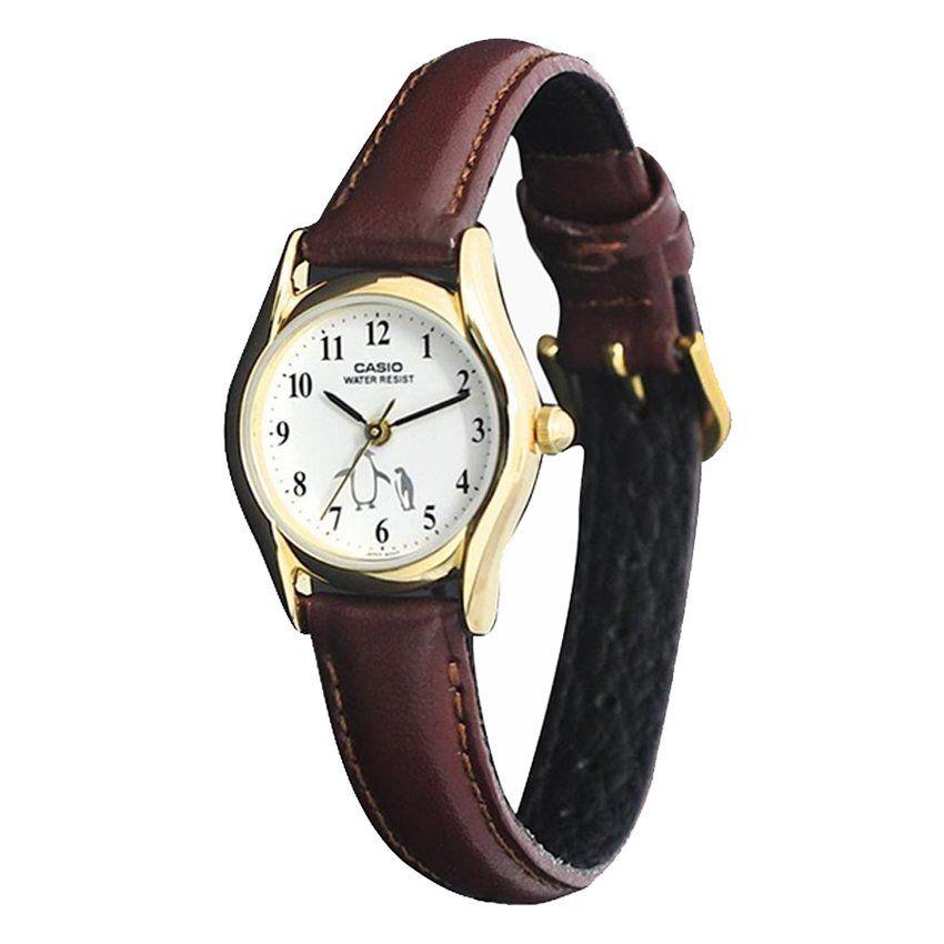 casio analog watch ltp 1094q 7b6 jam tangan wanita tali kulit coklat