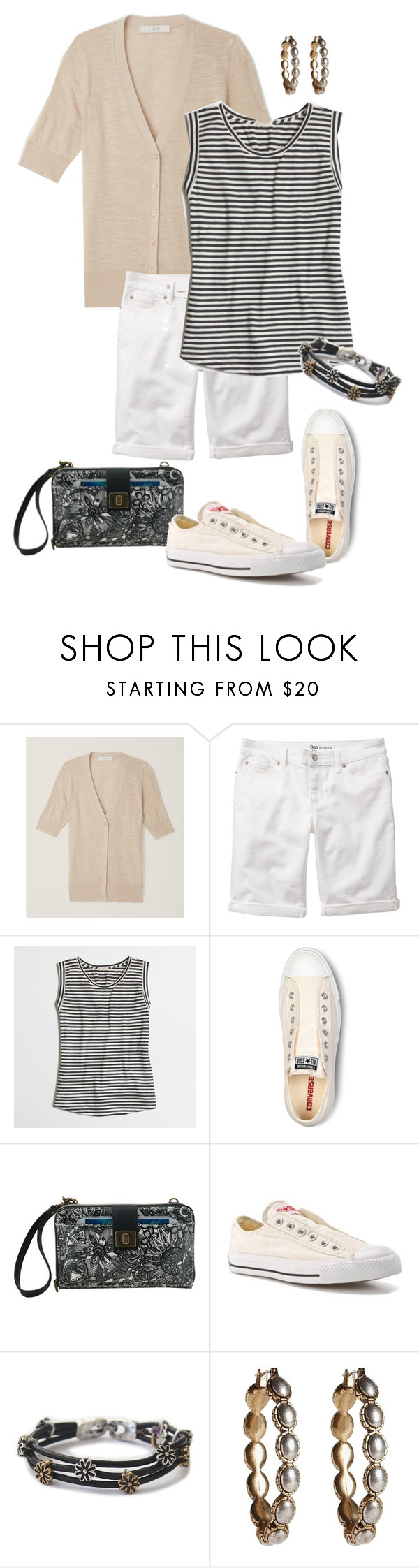 """""""Untitled #881"""" by texasgal50 ❤ liked on Polyvore featuring LOFT, Gap, J.Crew, Converse, Sakroots and Lucky Brand"""
