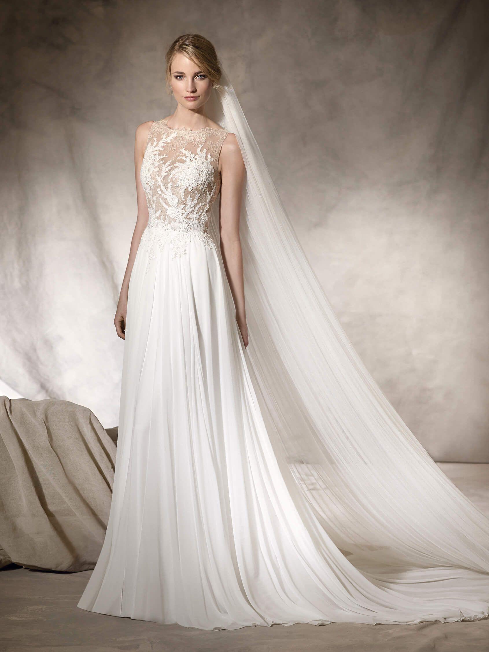 HAIKO ist ein ausgestelltes Brautkleid aus Gaze, Chantilly, Spitze ...