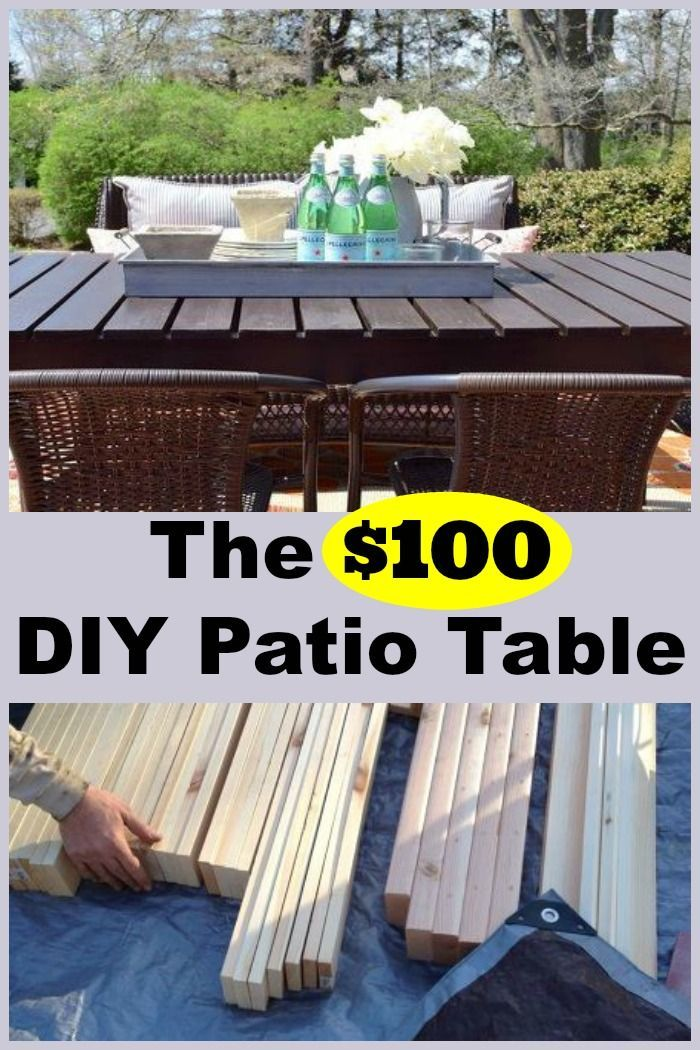 This DIY patio table allows for 8 people to sit around it
