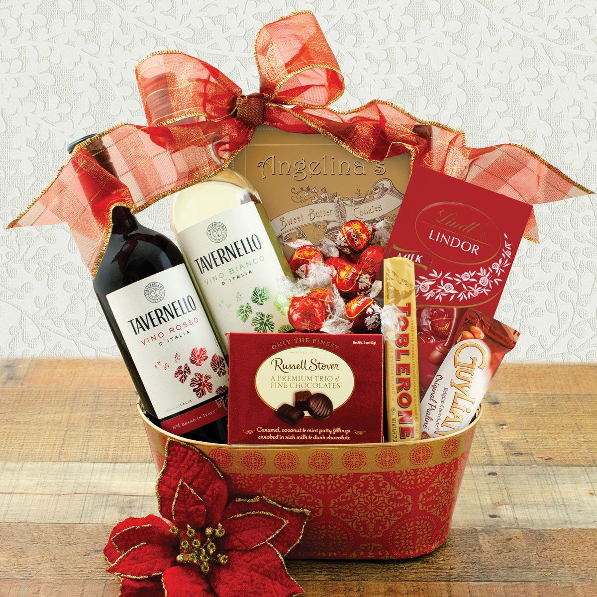 Yuletide Treasures Wine Duo Gift Basket Wine Gift Baskets Fruit Gifts Fruit Basket Gift