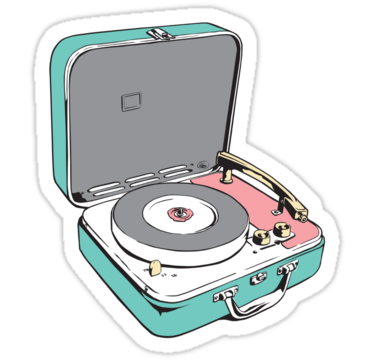 Retro Record Player Sticker By Nachotees In 2021 Hydroflask Stickers Tumblr Stickers Bubble Stickers