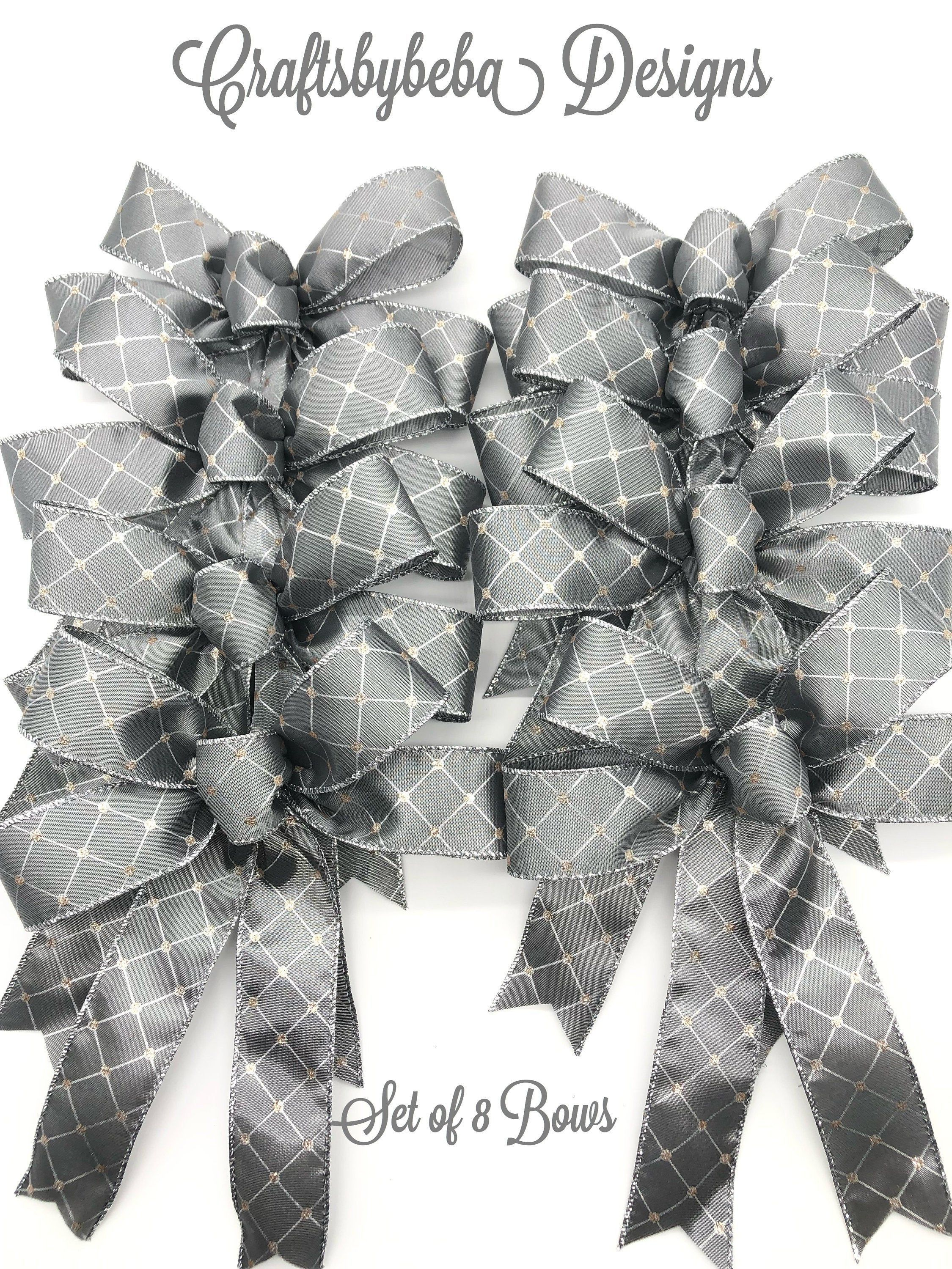 Gray Christmas Decorative Bows Set Of 8 Bows Christmas Tree Bows Gray And Silver Christmas Bows Small Christmas Bows Gray Bows Christmas Bows Christmas Tree Bows Christmas Wreath Bows
