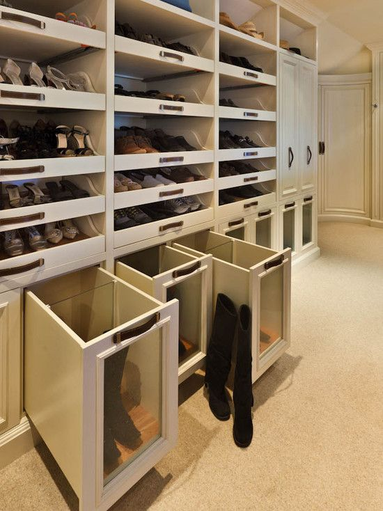 Woodmeister Master Builders: Enviable Custom Walk In Closet With Wall To  Wall Carpeting And Glass Front Boot Drawers!