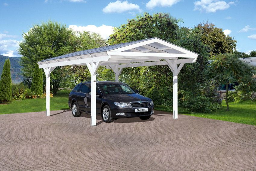 holz carport skanholz westerwald satteldach einzelcarport das carport mit dem gl sernen dach. Black Bedroom Furniture Sets. Home Design Ideas