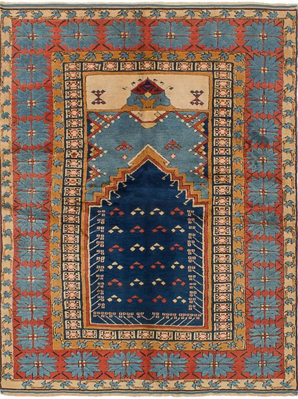 Hand Knotted Anatolian Vintage Dark Navy Light Blue Wool Rug Blue Wool Rugs Light Blue Wool Rug Rugs