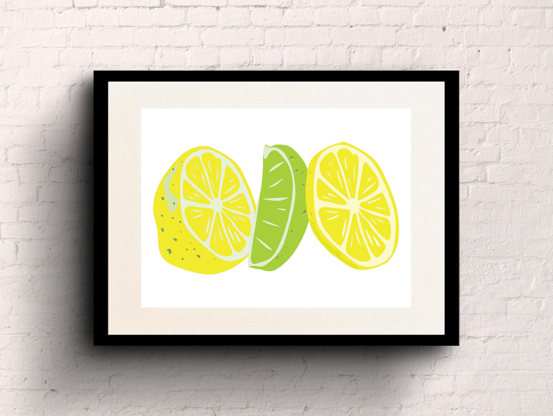 Digital print lemon lime citrus poster print wall art decor
