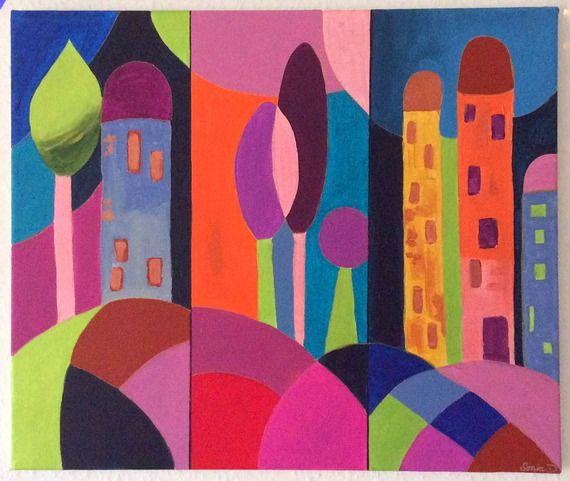 Peintures Modernes Colorées tableau moderne paysage coloré - tableau abstrait coloré - peinture