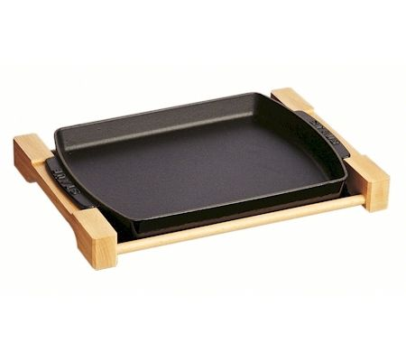 Staub Dish with wooden frame, black cast iron