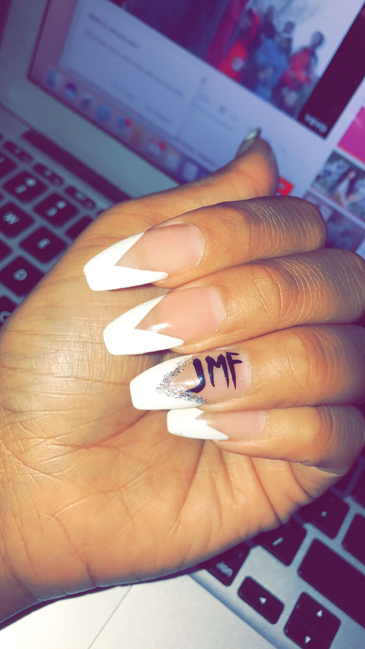 Pin by glory egwuonwu on coffin nails pinterest nail inspo nails with initials prinsesfo Gallery