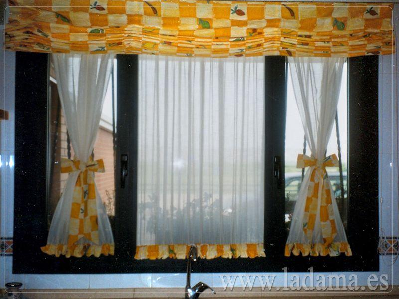 Visillos de cortina y estor coordinado para cocina for Visillos para cortinas