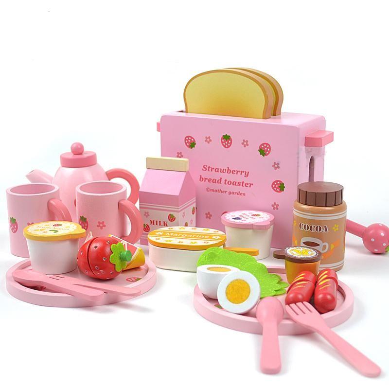Mother Garden Children S Wood Playhouse Toy Toast Bread Toaster Kids Wooden Kitchen Toys Set From