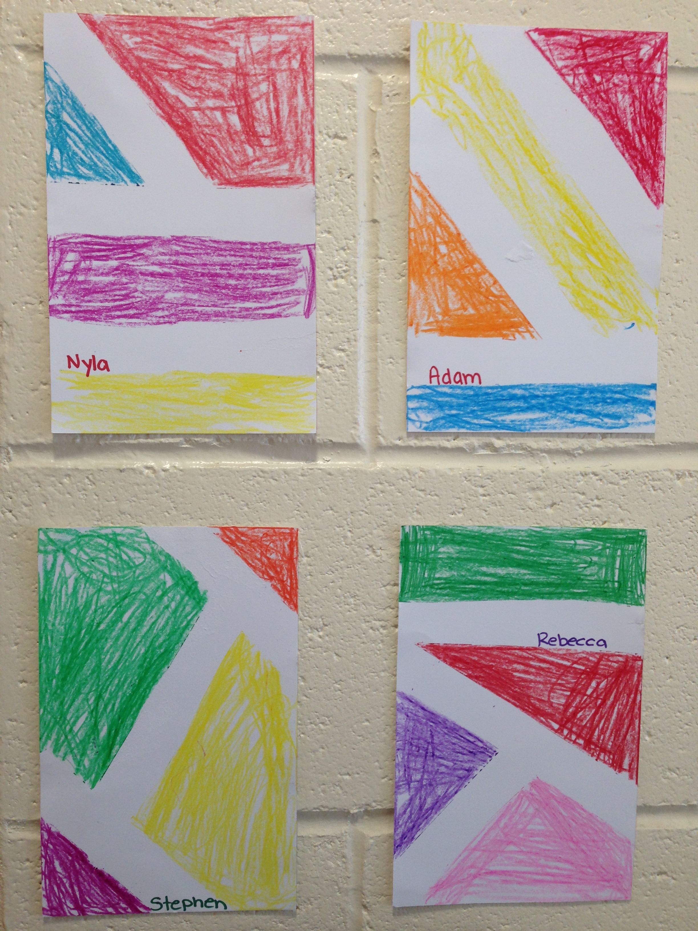 Crayons And Blue Painters Tape Awesome Abstract Art