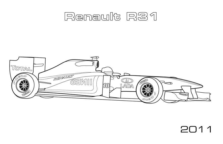 Race Car Outline Coloring Pages